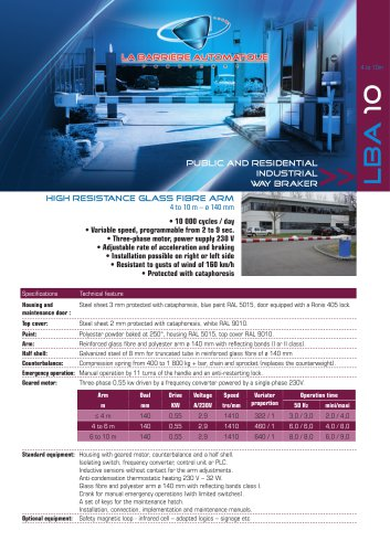 LBA 10 (with high resistance glass fiber arm)