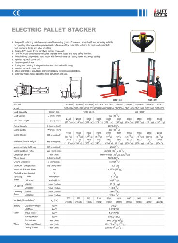 i-Lift Full Electric Stacker CDD