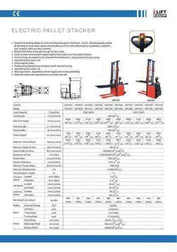 i-Lift/Hu-Lift Electric Pallet Stacker