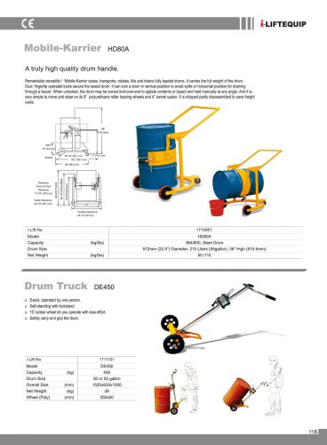 i-Lift/Hu-Lift Mobile-Karrier HD80A for Drum Transport and Tilting