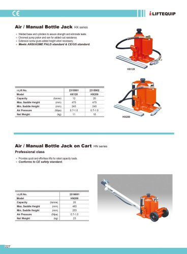MATERIAL HANDLING EQUIPMENT/I-LIFT/AIR/MANUAL BOTTLE JACK ON CART/HN200