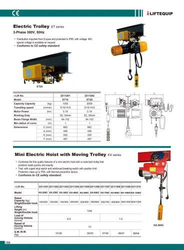 MATERIAL HANDLING EQUIPMENT/I-LIFT/ELECTRIC TROLLEY/ET10/20 SERIES