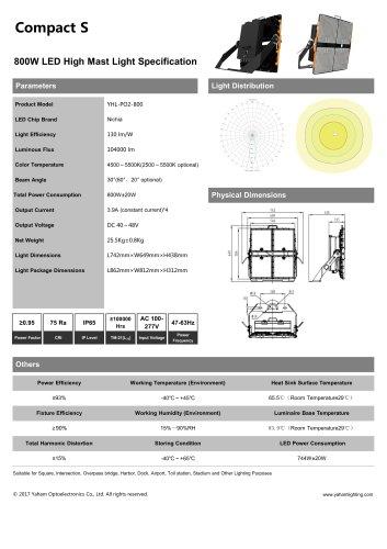 Compact S LED high mast light fixture  800W led flood light specification