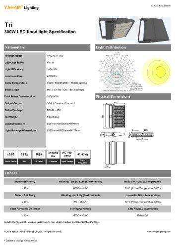 LED Floodlights  300W LED flood light Specification-YAHAM Tri flood lighting