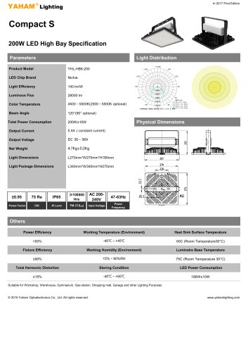 LED High Bay Specification  YAHAM Compact S-U 200W LED High Bay Specification