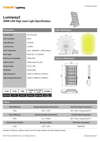 LED HIGH MAST LIGHT  300W Lumiway3 High mast light Specification