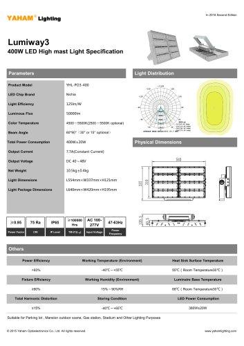 LED HIGH MAST LIGHT  400W Lumiway3 High mast light Specification