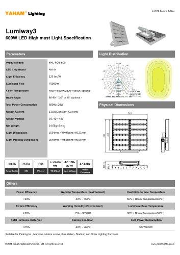 LED HIGH MAST LIGHT  600W Lumiway3 High mast light Specification
