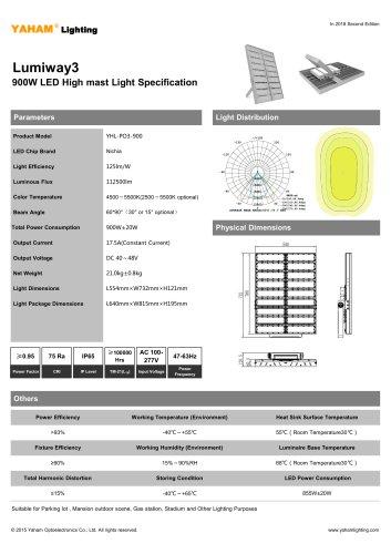 LED HIGH MAST LIGHT  900W Lumiway3 High mast light Specification