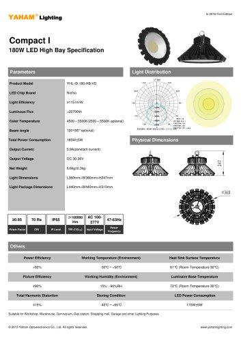 YAHAM HIGH BAY LIGHT  180w LED High Bay Specification