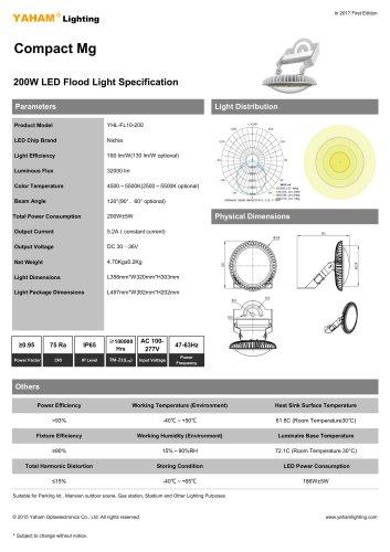YAHAM Lighting 200W Mg FL10 Compact Mg  Flood Light Specification