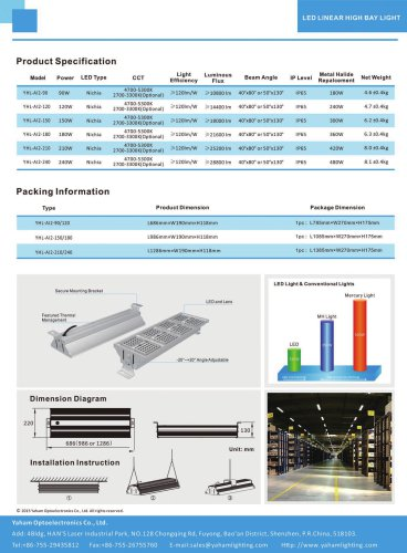 Yaham Lumiway LED Linear High Bay Light Suitable for Workshop , Warehouse , Shopping mall , Garage