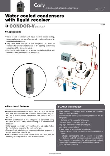 Water cooled condensers with liquid receiver