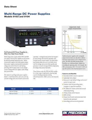 9103 9104 Series 320 W Multi-Range DC Power Supplies