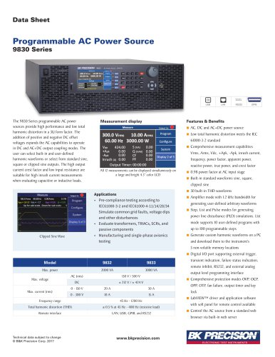 Programmable AC Power Sources up to 3000 VA Model 9833