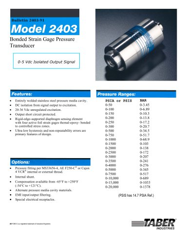 Taber Ground Support Transducers Model 2403