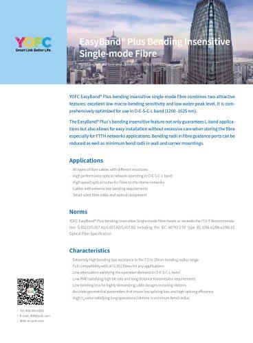 Yangtze Optical Fibre and Cable Joint Stock/SINGLE MODE OPTICAL FIBER / FOR TELECOM APPLICATIONS/EASYBAND® SERIES