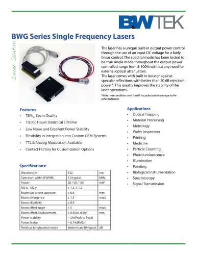 BWG Series Single Frequency Lasers