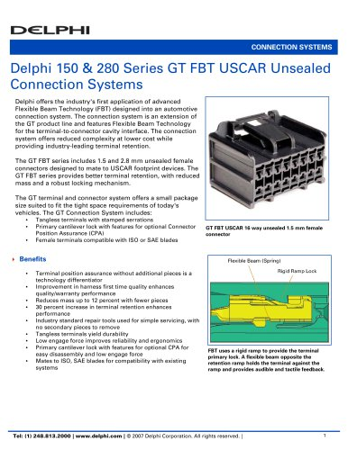 Delphi 150 & 280 Series GT FBT USCAR Unsealed Connection Systems