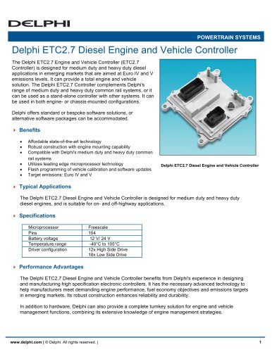 Delphi ETC2.7 Diesel Engine and Vehicle Controller