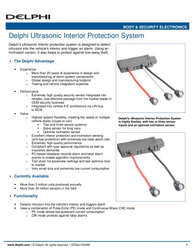 Delphi Ultrasonic Interior Protection System