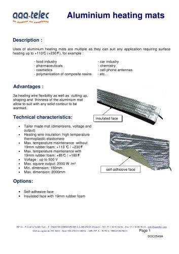 Aluminium heating mat