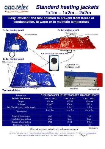Standard heating covers 1m², 2m² and 4m²