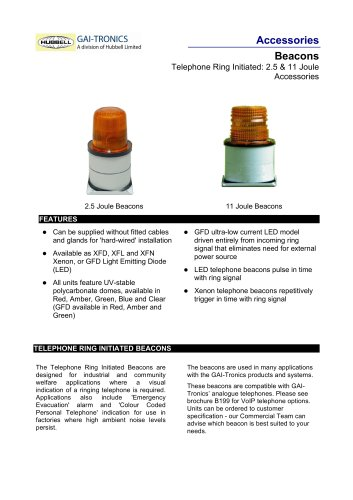 Beacons (Industrial): 2.5 & 11 Joule - Telephone Ring Initiated