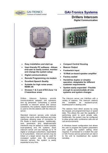 Drillers Digital Intercom System