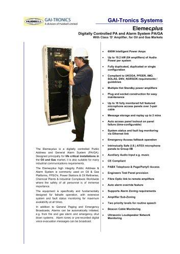 Elemec plus - Digitally Controlled Public Address and General Alarm System