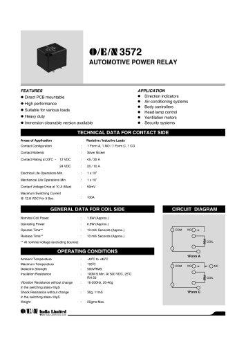 Series 3572 automotive relay