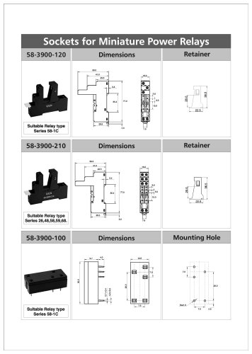Sockets for Miniature Power Relays