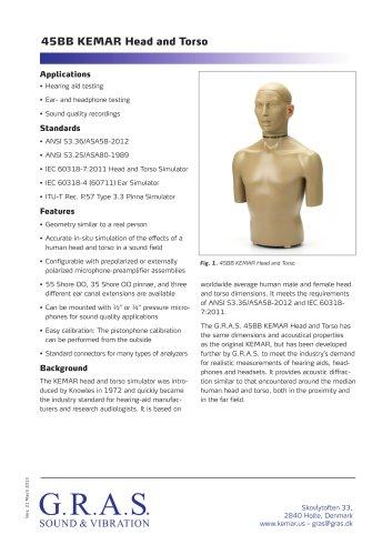 G.R.A.S. 45BB-2 KEMAR Head & Torso for hearing aid test, 1-Ch CCP