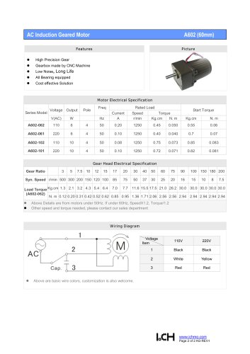 AC Induction Geared Motor A602(60mm)