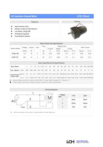 AC Induction Geared Motor A702
