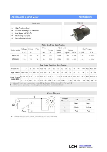 AC Induction Geared Motor A802(80mm)
