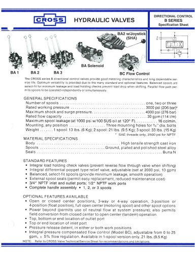 CROSS BA & BC Series Directional Valves