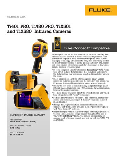 Ti401 PRO, Ti480 PRO, TiX501 and TiX580 Infrared Cameras