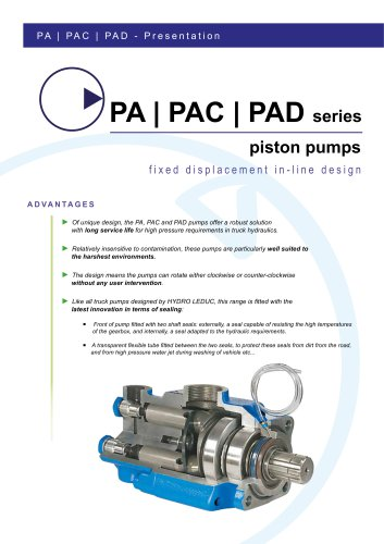 PA-PAC-PAD Pumps