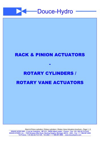 Rotary Cylinders / Rotary Vane Actuators / Rack & Pinion Cylinders
