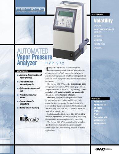 HVP 972 - AUTOMATIC VAPOR PRESSURE ANALYZER