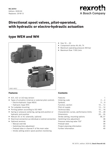 Directional spool valves, pilot-operated,with hydraulic or electro-hydraulic actuation type WEH and WH